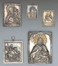 - Saint Triphon Revêtement en argent repoussé....