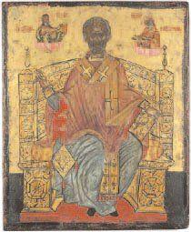 - Saint Nicolas Tempera sur bois. Grèce,...