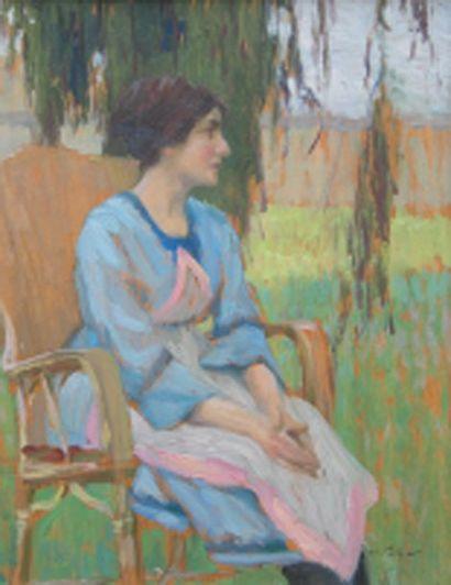 Portrait de l'épouse de l'artiste assise...