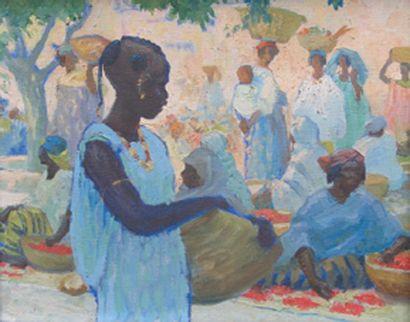 Scène de marché à Dakar, vers 1921 Huile...