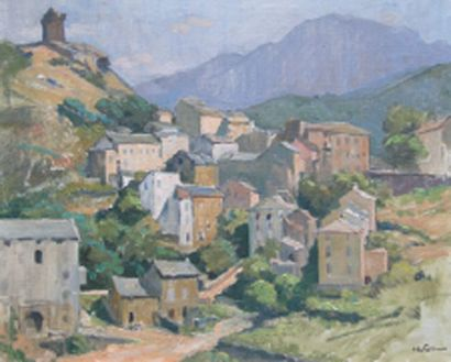 Village de Nonza en Corse Huile sur toile,...