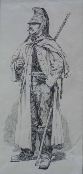 CHAPERON EUGENE (NE EN 1857) Militaire Plume. 20x10cm
