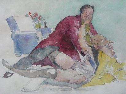 GARIN PAUL (1898-1960) Le viol Aquarelle, cachet en bas à droite. 21x31cm