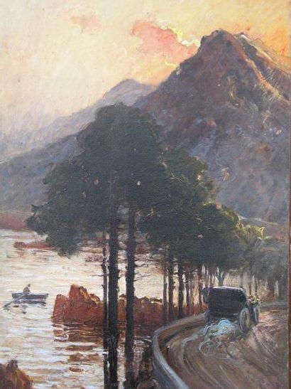 ADAN NANNY (1861-1915) L'automobile en bord de mer Huile sur carton, signée en bas...