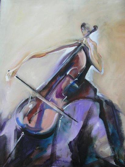 LALIC SONJA La violoncelliste Huile sur toile, signée en bas à droite. 92x73cm