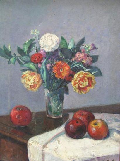 PAVIS GEORGES (1886-1951) Fleurs et pommes Huile sur toile, signée en bas à droite....