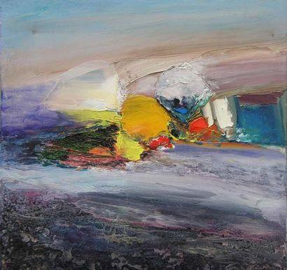 GRESSANI ROGES (NE EN 1942) Composition Huile sur toile, signée en bas à droite....