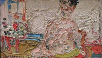 COTTAVOZ ANDRE (NE 1922) Nu assis devant la fenêtre Huile sur toile, signée en bas...