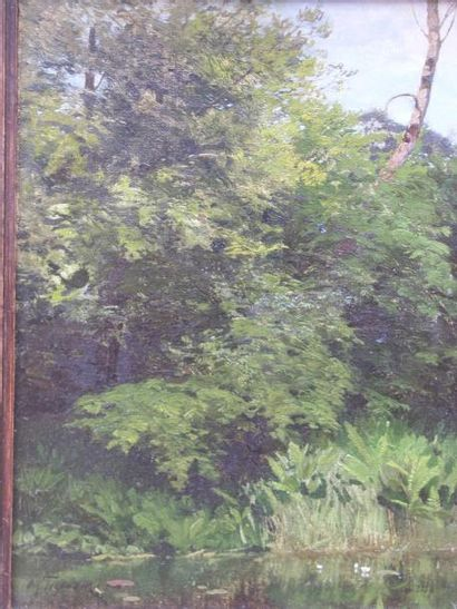HOFMANN OSKAR ABRAMOVITCH (1851-1913) Paysage aux nénuphares Huile sur toile, signée...
