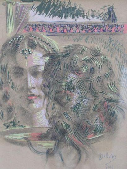 ECOLE FRANÇAISE La Belle et le Bête, 1944 Gouache, signée en bas à droite. 30x23...