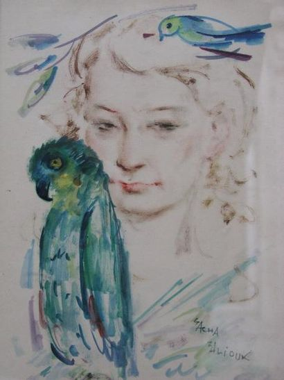 ZALIOUK SACHA (1887-1971) Femme aux oiseaux Gouache, signée en bas à droite. 37x...