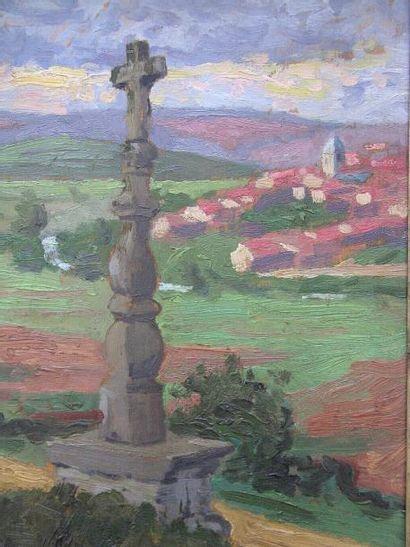 VRIES HUBERT DE (1899-1979) ATTRIBUE A Le calvaire Huile sur bois, signée en bas...