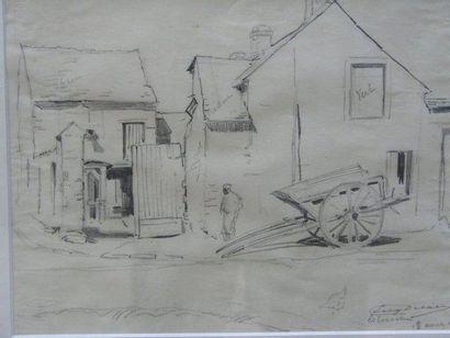DELATRE EUGENE (1864-1938) Estouche, 1909 Fusain, signé en bas à droite. 21x28cm