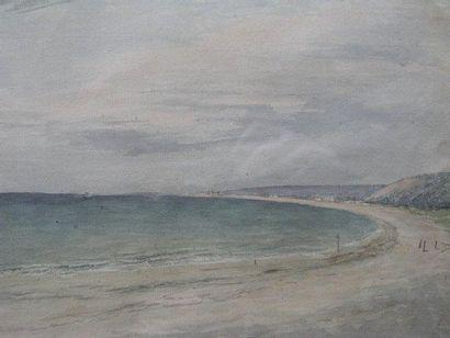 DELATRE EUGENE (1864-1938) La plage Aquarelle. 25x37cm