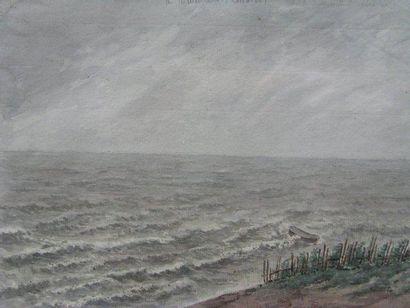DELATRE EUGENE (1864-1938) La barque par gros temps Aquarelle. 20x29cm