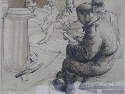 EADIE IAN La lettre, 1941 Plume et lavis, signé en bas à gauche. 23x27cm