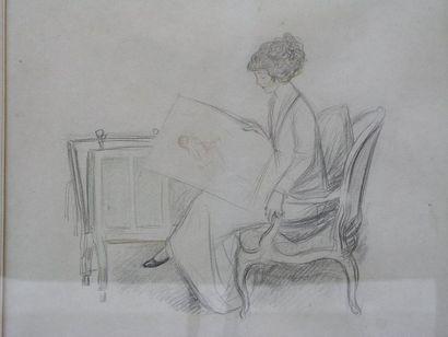 FAIVRE ABEL (1867-1945) La collectionneuse de dessins Fusain et pastel. 34x36cm