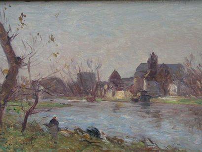GUILLEMET ANTOINE (1842-1918) Inondations à Moret, 1896 Huile sur bois, signée en...