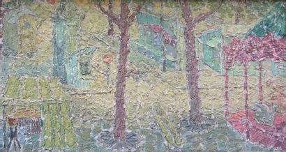 DENEUX GABRIEL CHARLES (NE EN 1856) Le manège rouge Huile sur toile, signée en bas...