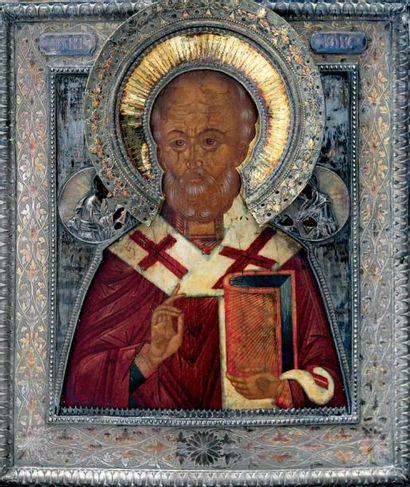 Saint Nicolas Le saint est entouré du Christ...