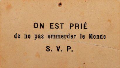 [APOLLINAIRE (Guillaume)]. Carte imprimée,...