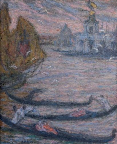Edmond AMAN JEAN (1860-1936) Venise Huile sur toile. Signée en bas à gauche. 73 x...