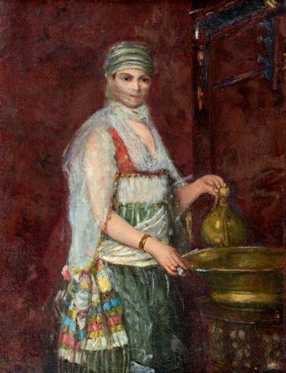 Ecole Orientaliste Jeune femme à la fontaine Huile sur toile. 64 x 49 cm