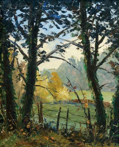 Paul Émile PISSARRO (1884-1972) Paysage à Clécy Huile sur panneau. Signée en bas...