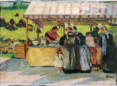 Lucien SIMON (1861-1945) Marché de jouets en Bretagne Huile sur toile. Signée en...