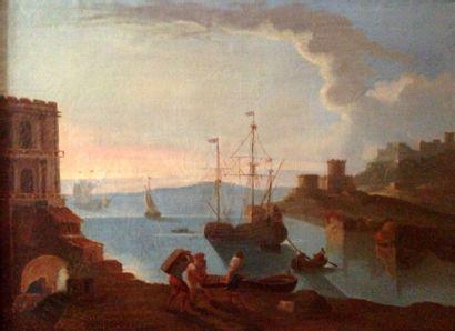 Paire de grandes toiles d'après Vernet: ...