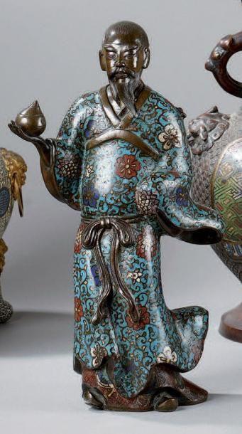 STATUETTE de personnage en bronze et émaux...