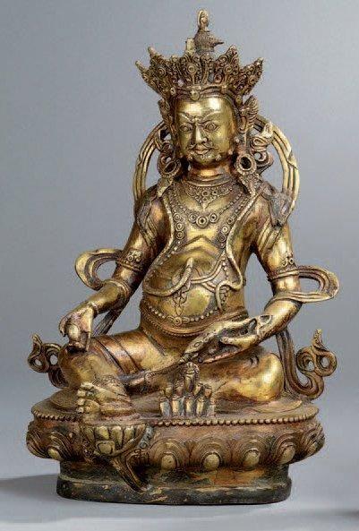 STATUE DE JAMBHALA en bronze, représenté...