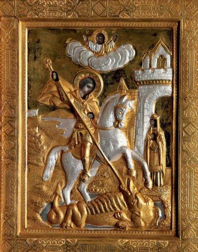 ICONE représentant Saint Georges terrassant...