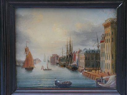 FIXE SOUS VERRE représentant le port de Marseille....