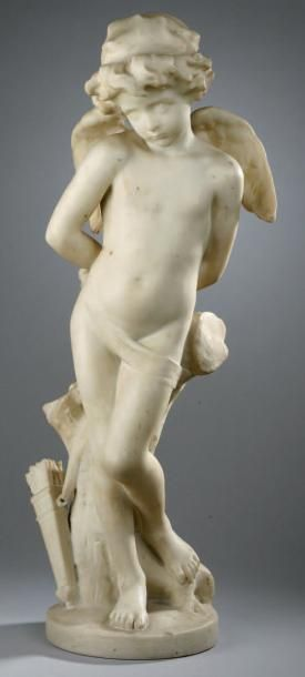 SCULPTURE en marbre blanc de Carrare représentant...