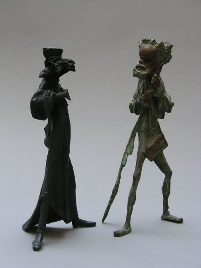 PAIRE DE SUJETS en bronze et régule, l'un...