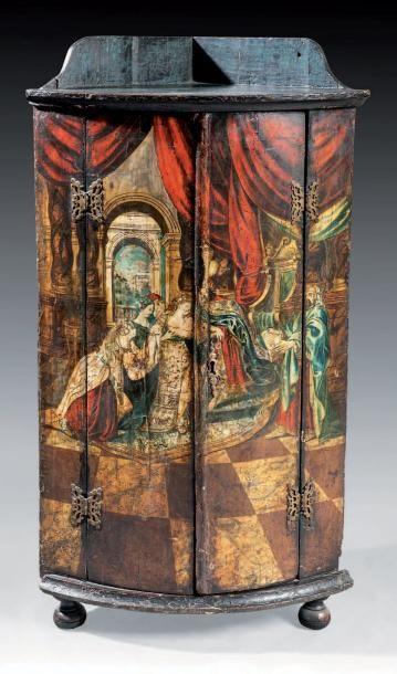 ENCOIGNURE en bois à décor peint d'une scène...
