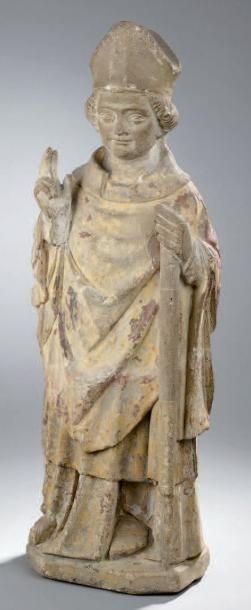SCULPTURE en pierre calcaire polychrome représentant...