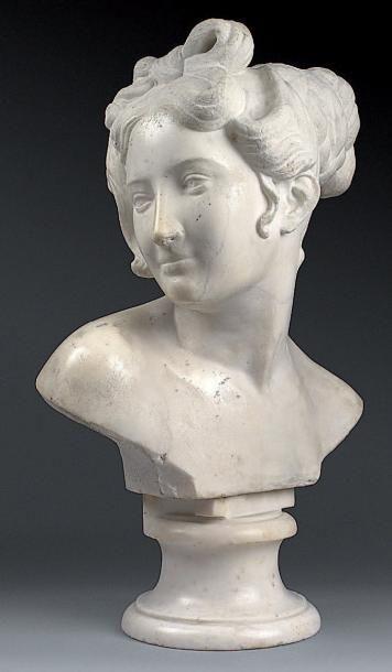 SCULPTURE en marbre blanc représentant un...