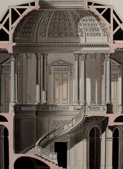 François FORESTIER DE VILLENEUVE (actif au XVIIIème siècle) Coupe et plan d'une salle...