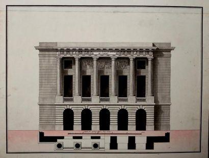 École Française du XIXe siècle Projet pour une salle de danse de l'Opéra Plume et...