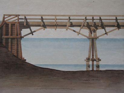 École Française du XIXe siècle Projet d'un pont de sept travées (élévation, coupes...