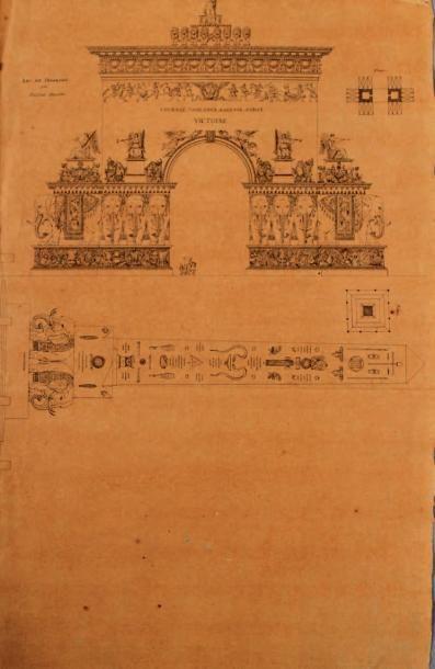 École FRANÇAISE du début du XIXe siècle Ensemble de douze projets divers d'architecture...