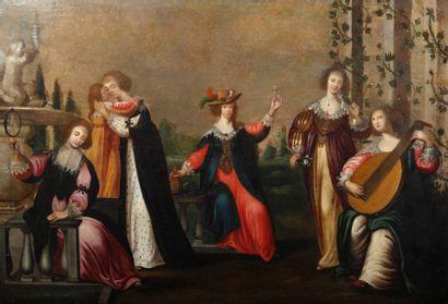 ECOLE FLAMANDE du XVIIe siècle Entourage de Hieronymus JANSSENS (1624 - 1693)