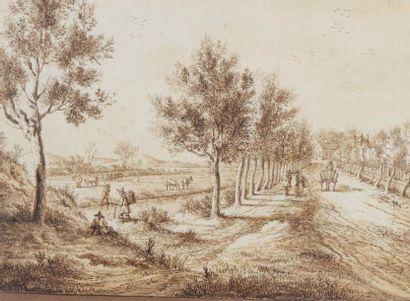 Ecole Flamande du XVIIIe siècle Paysage animé Plume et encre brune, lavis brun. 28,5...