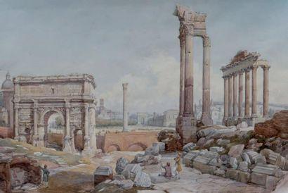 École italienne Le Colisée de Rome Aquarelle. 27,5 x 39,5 cm