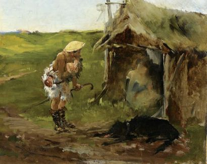 Marius ROY (1833-1921) Scène de genre Huile sur toile (réentoilée). Signé en bas...
