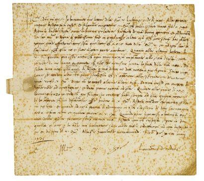 MÉDICIS (Laurent de, dit le Magnifique). 1448-1492. - Lettre signée avec date et...