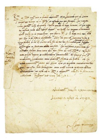 LOUIS XII 1498 - 1515 BORGIA (Lucrèce) fille du pape Alexandre VI. 1480-1519. - Lettre...