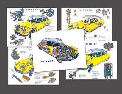 Ensemble de cinq planches originales Citroën....